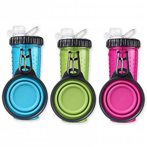 H-DuO Snack Dual Water / Food Bottle with Collapsible Dog Travel Bowl